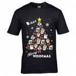 Premium Funny Merry Woofmas Pet Dog Lovers Christmas Tree Motif Dogs Puppy Novelty Xmas T-Shirt Top